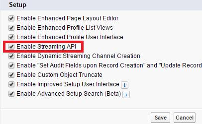 enable streaming api