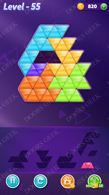 Block! Triangle Puzzle Intermediate Level 55 Solution, Cheats, Walkthrough for Android, iPhone, iPad and iPod