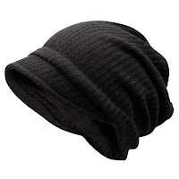 Striped Knitted Warm Beanie Hat - Black