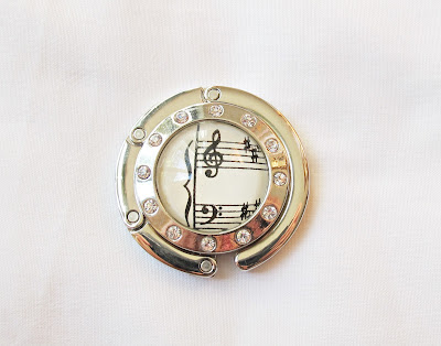 image purse hook bag hanger accessories music musician musical sheet handmade domum vindemia rhinestones