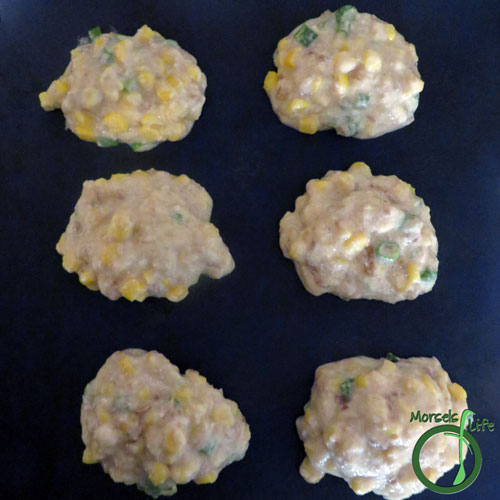 Morsels of Life - Baked Corn Fritters Step 5 - Scoop out 2 tablespoon portions, and bake at 350F for 15 minutes.