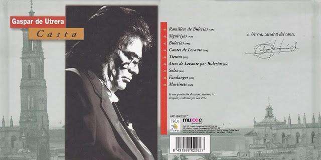 """GASPAR DE UTRERA, ANTONIO MOYA Y PEDRO MARÍA PEÑA, """"CASTA"""" CD PALO NUEVO-MUXXIC RECORDS 2002. DISCO QUE LE HIZO SU PRIMA TERE PEÑA, HERMANA DE EL LEBRIJANO PARA EL NACIENTE SELLO DEL GRUPO PRISA"""