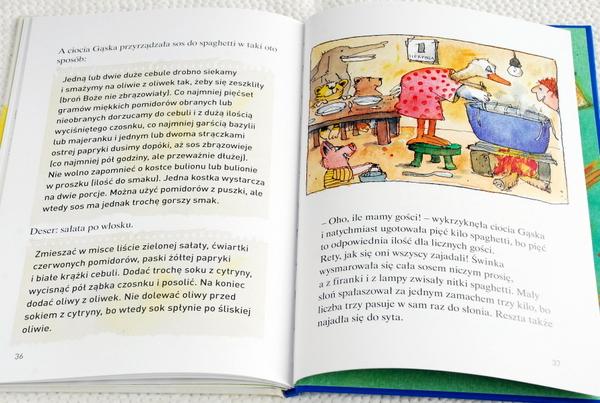 Wnętrze książki, makaronowa uczta u Cioci Gąski