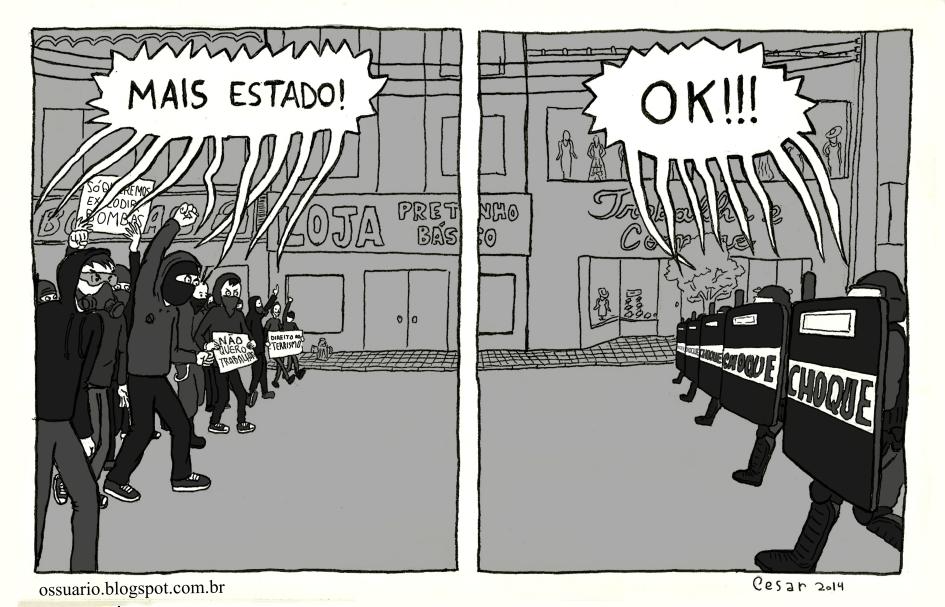 tira sobre protestos