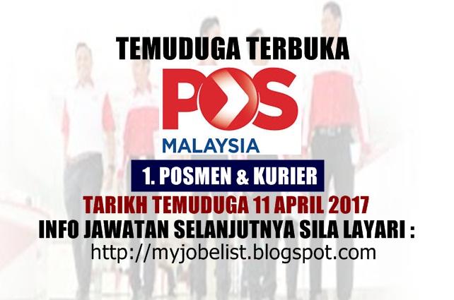 Temuduga Terbuka Pos Malaysia Berhad April 2017