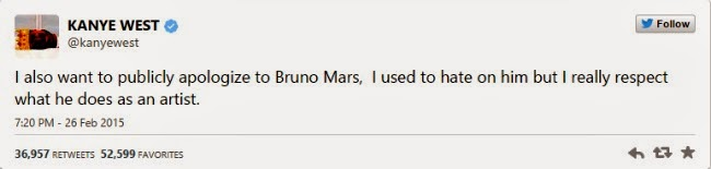 Kanye West's Apology To Bruno Mars