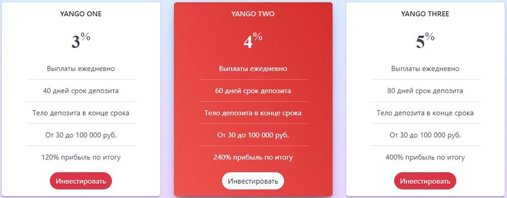 Инвестиционные планы Yango