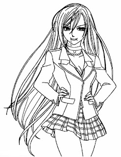 anime rosario vampire moka coloring pages