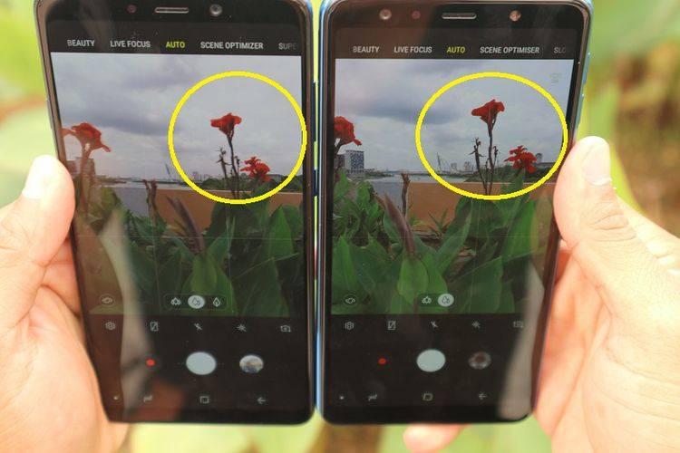 Tingkat kecerahan warna di Galaxy A9 (kiri) lebih tinggi dibanding Galaxy A7 (kanan) yang cenderung natural. (tekno.kompas.com)