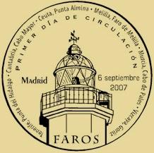 Matasellos PDC de la Hoja Bloque de Faros 2007
