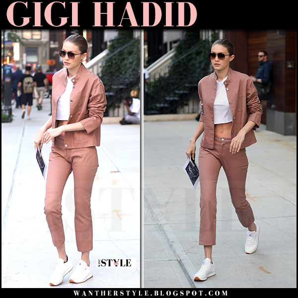 Gigi Hadid in dusty pink jacket and matching pink pants nomia what she wore june 21 2017