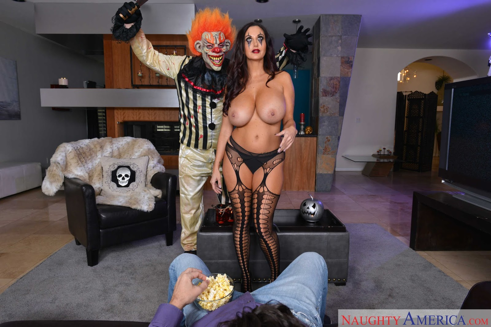 Pornstar with small tits on halloween porno picture