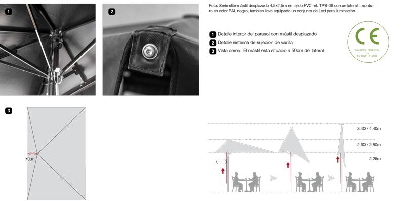 accesorios parasoles aluminio serie élite mástil desplazado