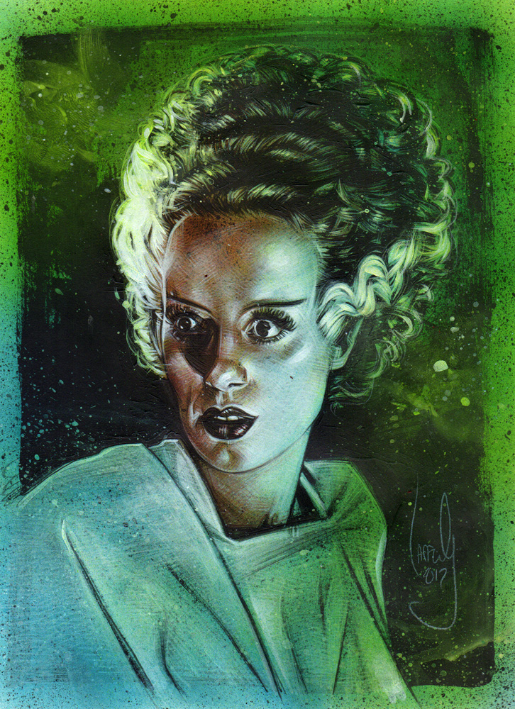 Elsa Lanchester as The Bride of Frankenstein, Artwork© Jeff Lafferty