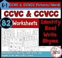CCVC and CCVCC Worksheets to Read Write and Rhyme
