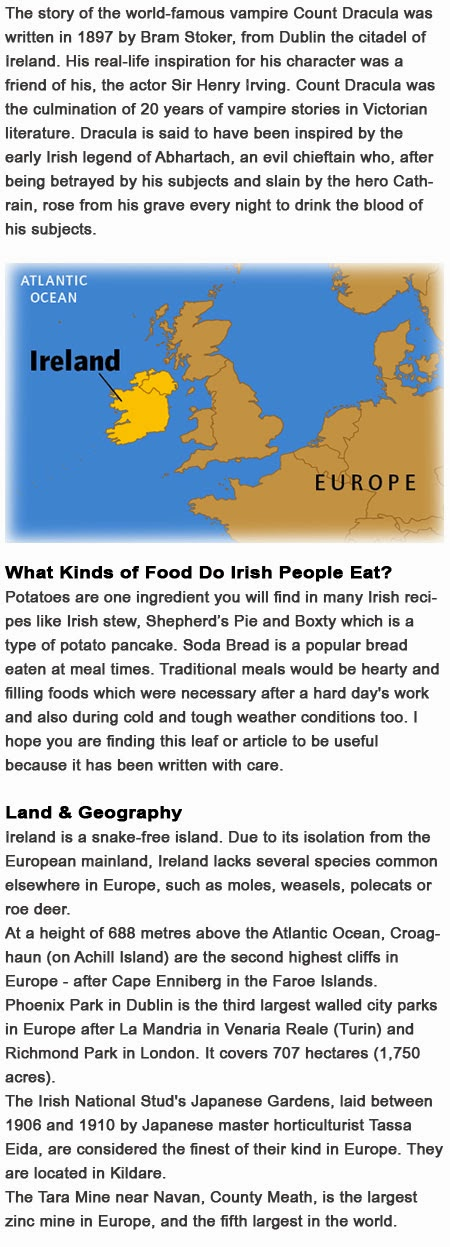 Facts on Ireland for kids   Childhood Education