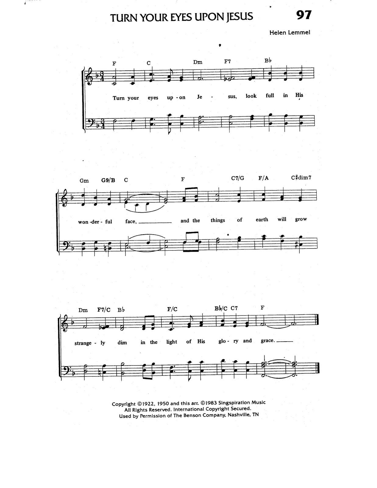 turn your eyes upon jesus lead sheet pdf