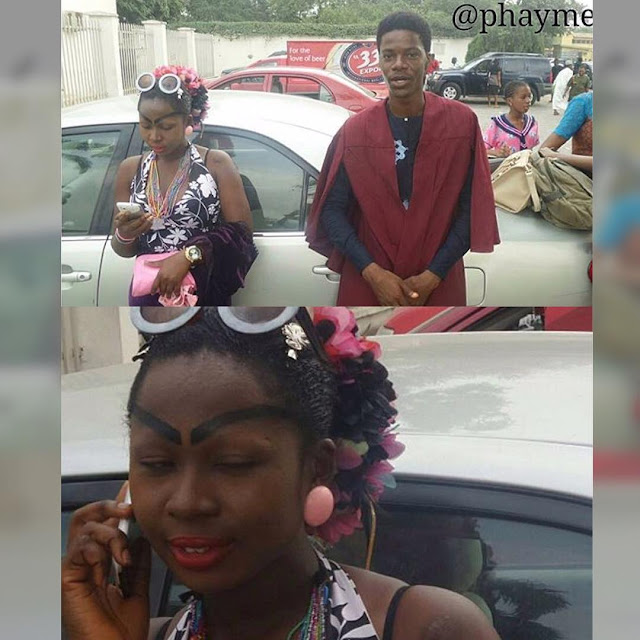 Photo: Young lady spotted with bizarre makeup at UNILAG matriculation
