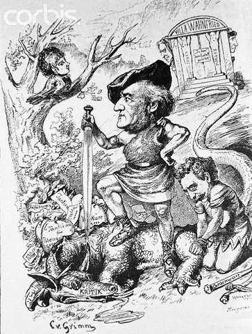 Licencia Histórica: El Clan Wagner. Caricatura de Richard Wagner como Sigfrido, matando al dragón de las críticas.