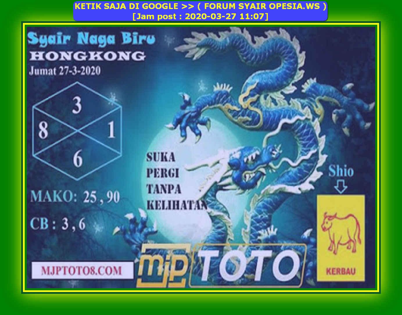 Kode syair Hongkong Jumat 27 Maret 2020 139