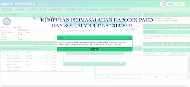 Kumpulan Permasalahan dan Solusi Dapodik PAUD v.3.3.0 T.A 2018/2019