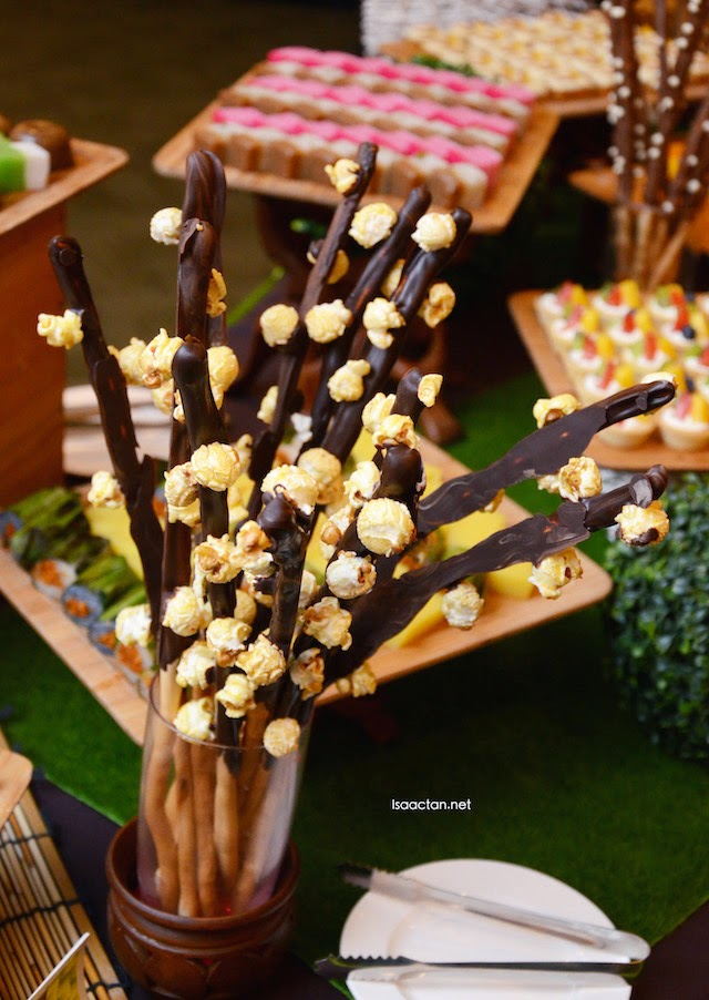 The very interesting bread sticks dipped in chocolate with popcorns