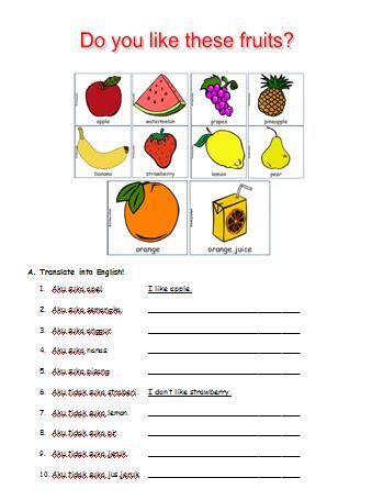 Materi Bahasa Inggris untuk Anak Level 1 (Usia 7 - 9 Tahun): Names of Fruits (Nama Buah-buahan)