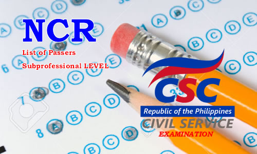 List of Passers NCR August 2017 CSE-PPT Subprofessional Level