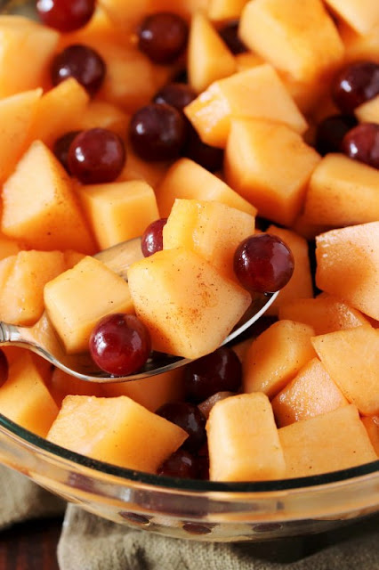 Cantaloupe Salad with Maple & Cinnamon ~ it's one very simple, surprisingly delicious, amazingly tasty little fruit salad.