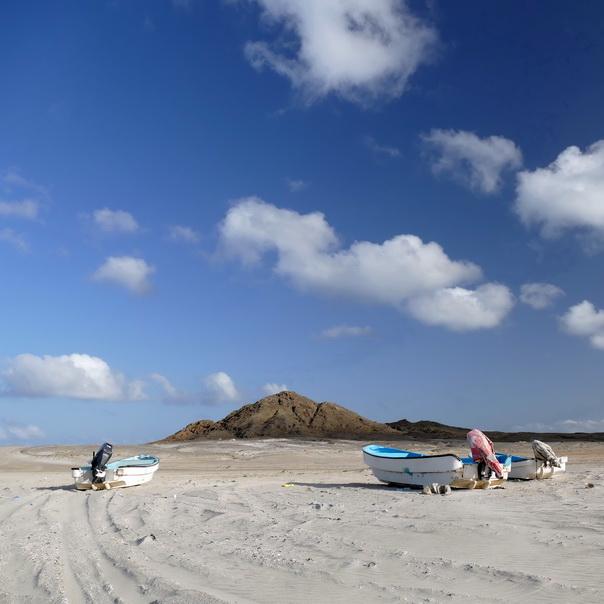 Masirah Island, Oman, Insel, Strand, Boote, Fischer, Himmel