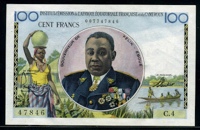currency money Africa 100 Francs Felix Eboue banknote