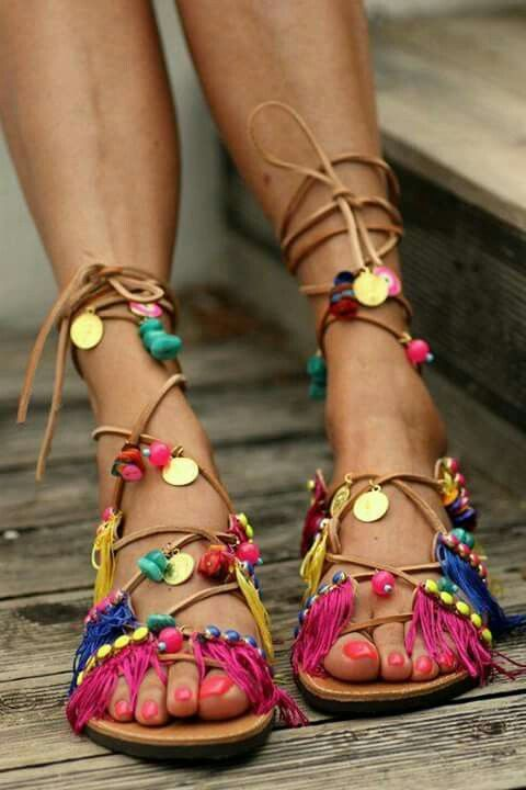 Lady in Pretty Sandals with Colorful Shoelace