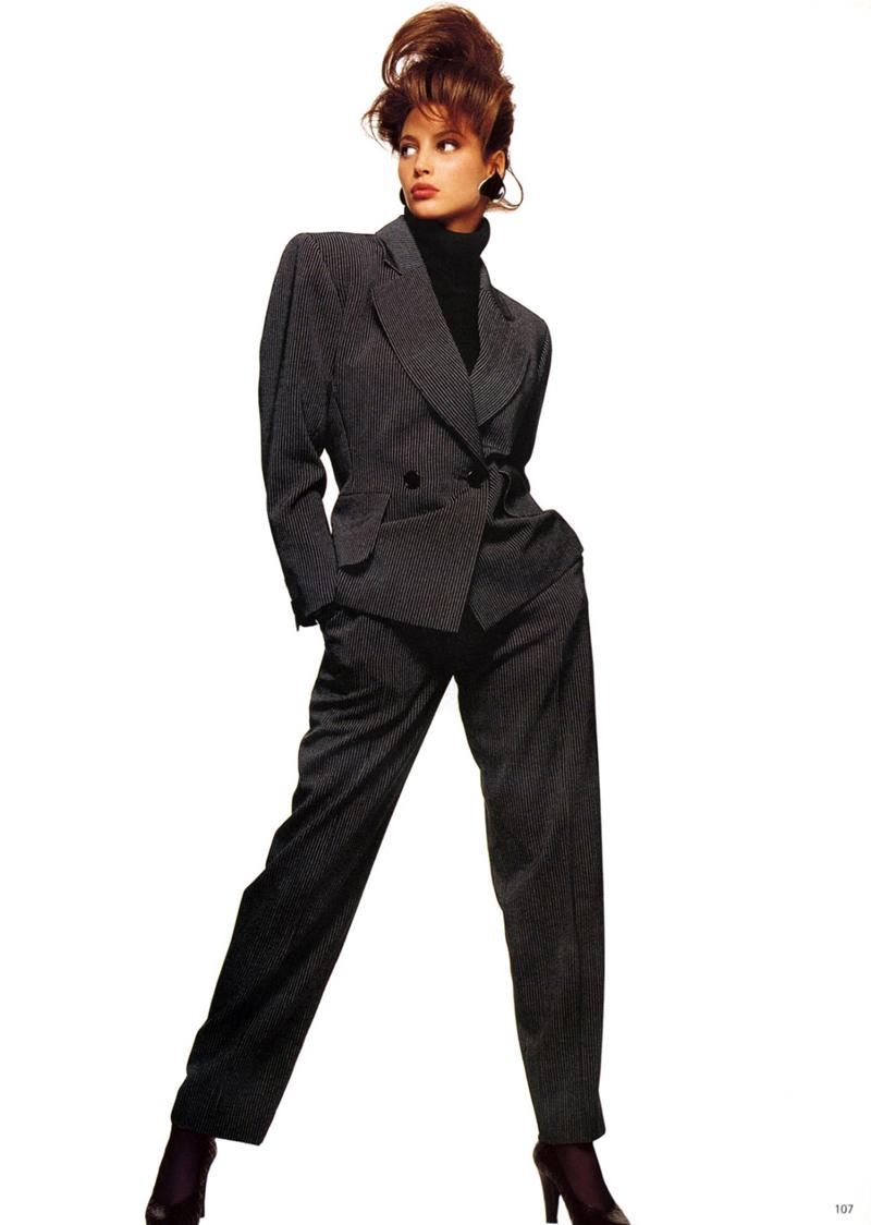 Christy Turlington wearing Yves Saint Laurent in Vogue US July 1987 via www.fashionedbylove.co.uk