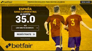 betfair supercuota España gana a Argentina 27 marzo