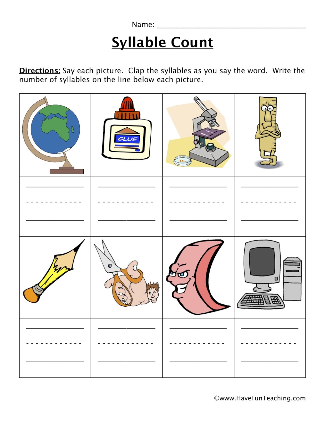 Syllable Identification Worksheet
