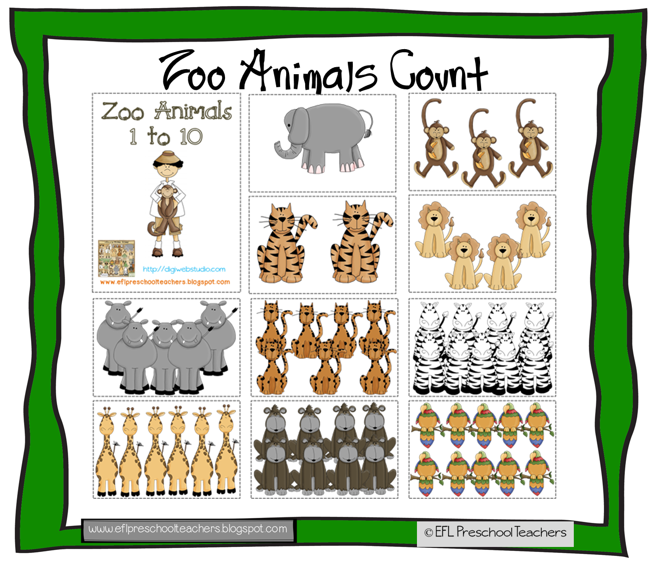 Esl Efl Preschool Teachers Zoo Or Jungle Theme For The