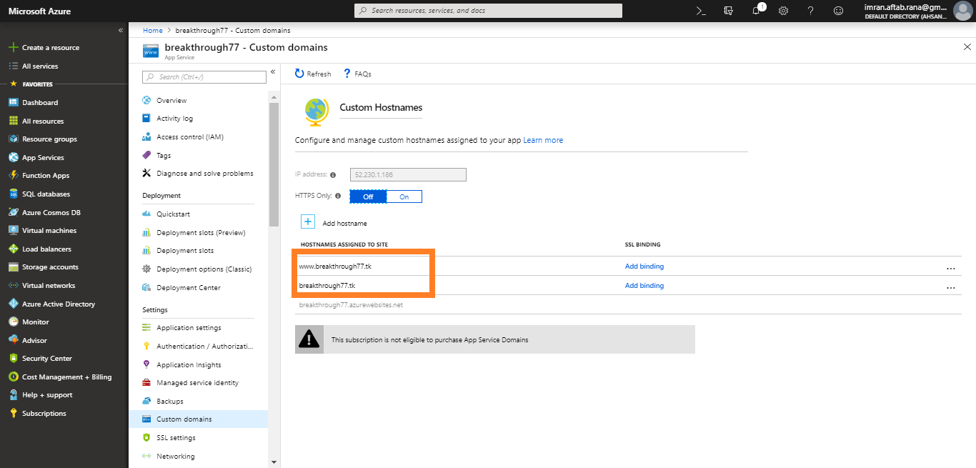 Setting up Free Custom Domain on Microsoft Azure Web App