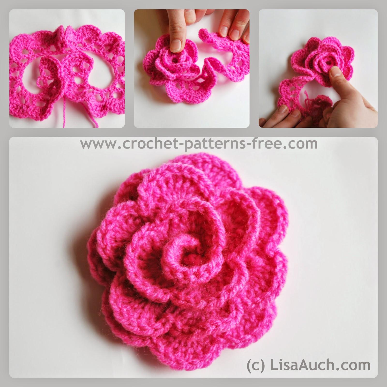 Free crochet flower patterns-crochet rose