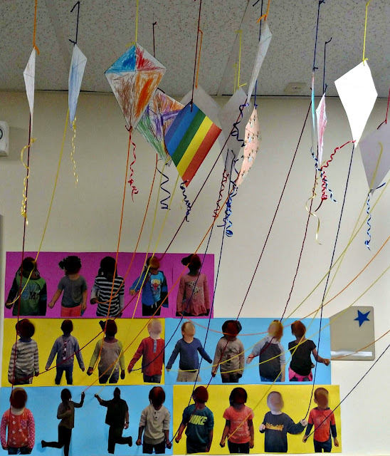 Up, Up, and Away! 3D Student Kite Artwork Display | Apples to Applique
