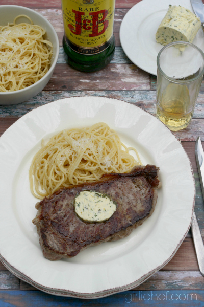 New York Strip with Whisky Herb Butter inspired by Moonstruck