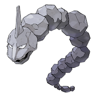 Imagen de Onix, Pokemon gusano de piedra, de color gris, y cuyo cuerpo está compuesto de rocas más o menos redondas.