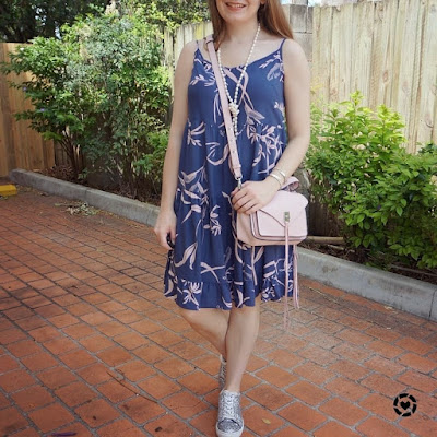awayfromtheblue instagram | kmart strappy tiered sundress with silver glitter sneakers rebecca minkoff darren bag