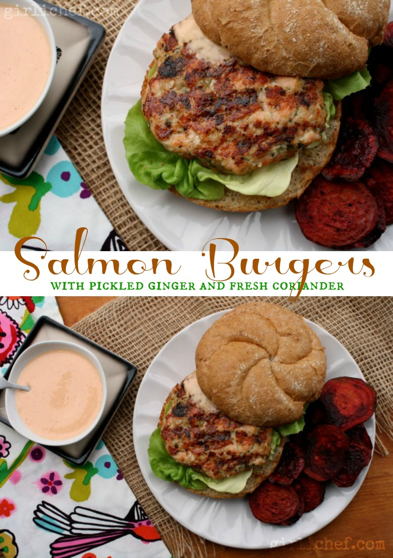 Salmon Burgers with Pickled Ginger and Coriander