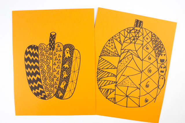Easy Zentangle Pumpkins For Kids And Adults Pink Stripey Socks