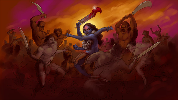 goddess kali battle with demons painted illusration