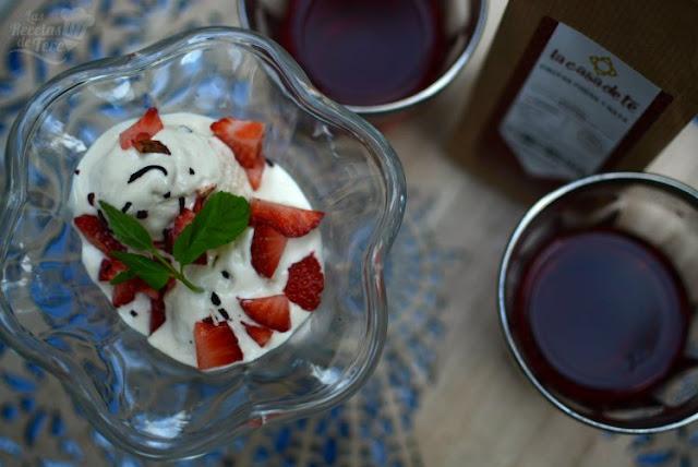Helado de te de frutas, fresa y nata 01