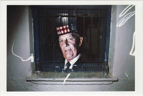 dirty photos - upon - flash street photo of double exposure of old man on window