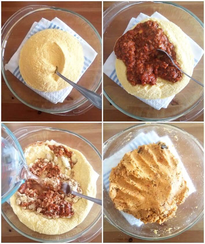 Preparación de la masa de los bollitos aliñados (collage de fotos)