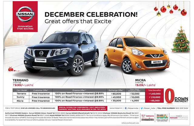 Nissan december celebration | 100% on road finance and lowest rate of interest | December 2016 discount offers | Christmas offer, Year end sale offers