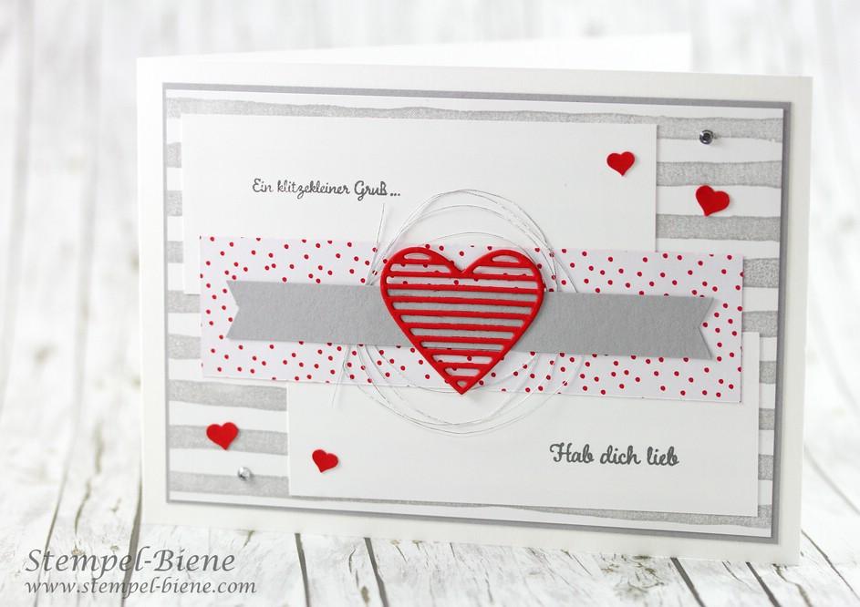 Stampinup Valentinstagskarte; Stampinup Mit Gruß Und Kuss; Matchthesketch;  Valentinstagskarte Basteln; Stampinup Frühjahrskatalog